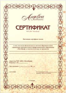 Диплом об окончании курсов